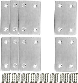 Riccioofy Stainless Steel Straight Support Shelf Bracket Flat Corner Brace Brackets,8Pcs 2.3 x 1.5 Inches Heavy Duty Flat Corner Brace for Wood, Shelves, Furniture and Cabinet