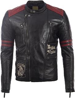 Aviatrix Men's Real Leather Racing Badges Fashion Jacket (A8WJ)