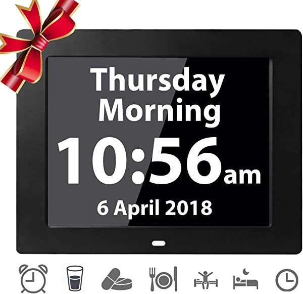 12 Alarms Digital Day Alarm Clock Electronic Calendar Large Clocks Reminder For Memory Loss Elderly Seniors Dementia Sufferers Alzheimers Products Wall Vision Impaired Patients Kids Room 8 Black