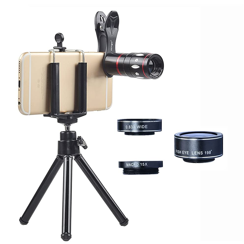 Akinger 4 in 1 Phone Lens Camera 10x Telescope + 198 Fish Eye + 0.63X Wide Angle + 15X Micro Clip-on Lens with for iPhone/Samsung/HTC/Ipad/Tablet PC/Laptops