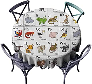 Dust-Proof Tablecloth Educational Alphabet Learning Chart with Cartoon Animals Names Letters Upper and Lowercase Multicolor Washable Tablecloth D55