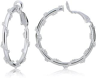 Sterling Silver Chain-Wrap Clip-On Hoop Earrings, 20mm, 25mm, 30mm