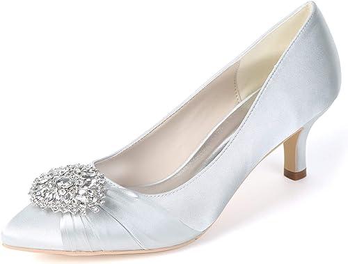 Elobaby Elobaby Femmes Satin Chunky Chaussures De Mariage Grandes Sandales Faite Main Basique Talons Plateforme Talon   6cm Talon  pas cher et de haute qualité