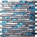 Home Building Glass Tile Kitchen Backsplash Idea Bath Shower Wall Decor Teal Blue Gray Wave Marble Interlocking Pattern Art Mosaics TSTMGT002