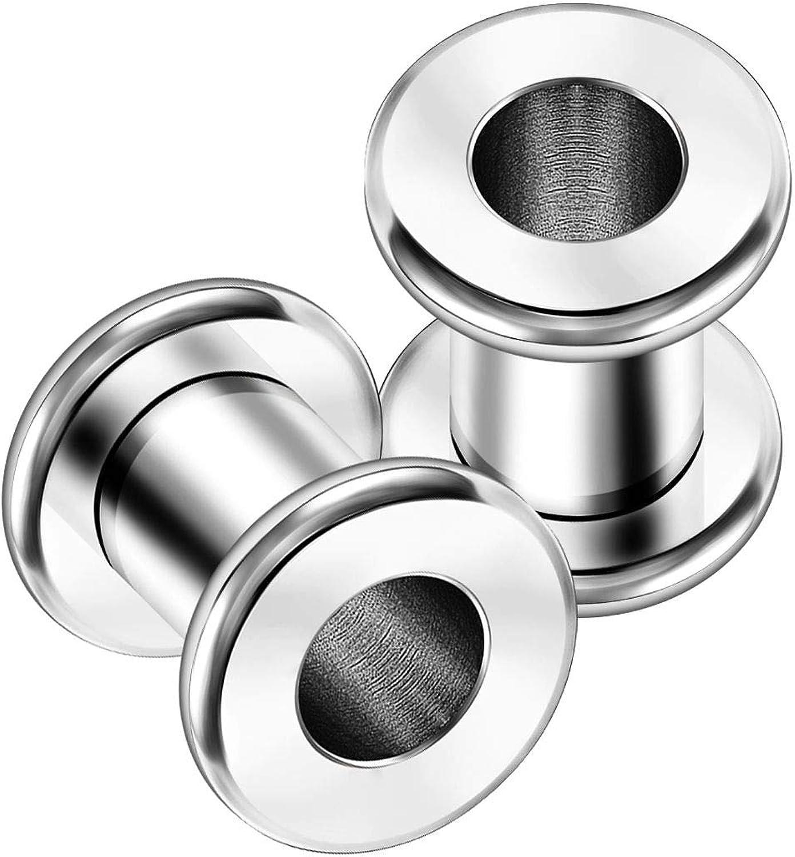KJM FASHION 2PCS Surgical Steel Flesh Rounded Edges Stretcher Ear Tunnel Gauge Plug Earring Lobe Piercing Jewelry Choose Sizes