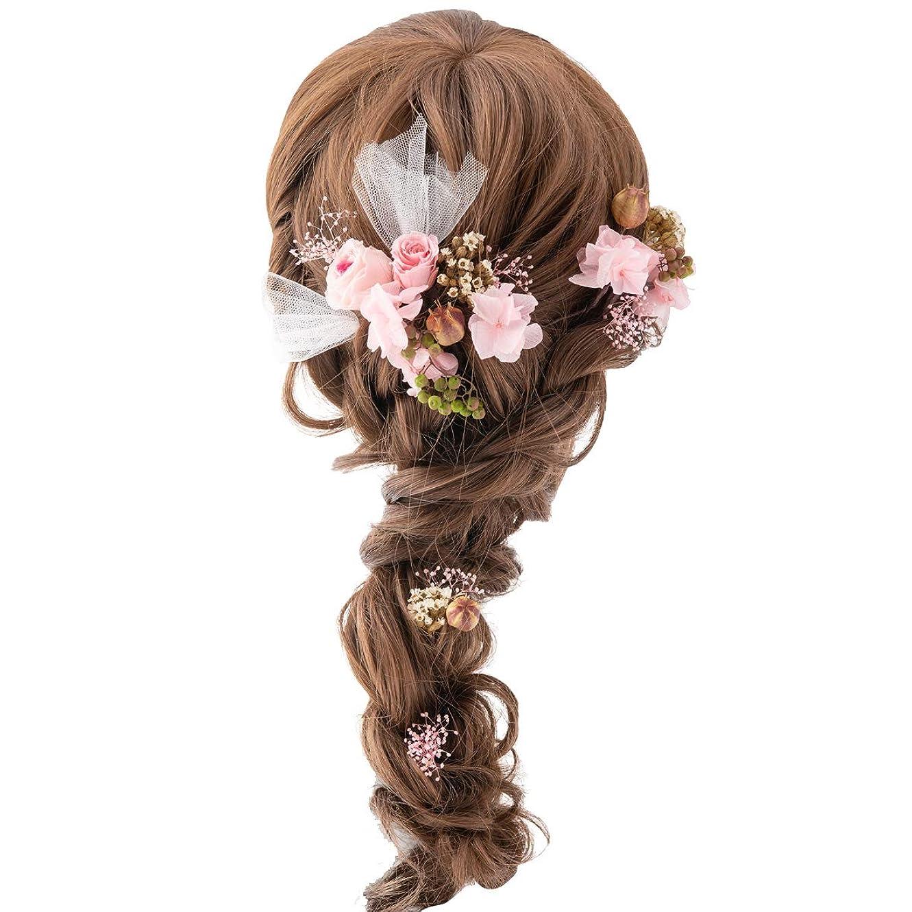 資本花火説明(ファンファン)プリザーブドフラワー ヘッドドレス 髪飾り 花 ヘアアクセサリー ウェディング ブライダル 結婚式 パーティ