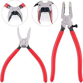 Swpeet 2Pcs Heavy Duty Breaker Grozer Pliers and Glass Running Pliers Kit with Rubber Tips, Glass Pliers with Flat Jaws & Curve Jaw Perfect for Stained Glass Work