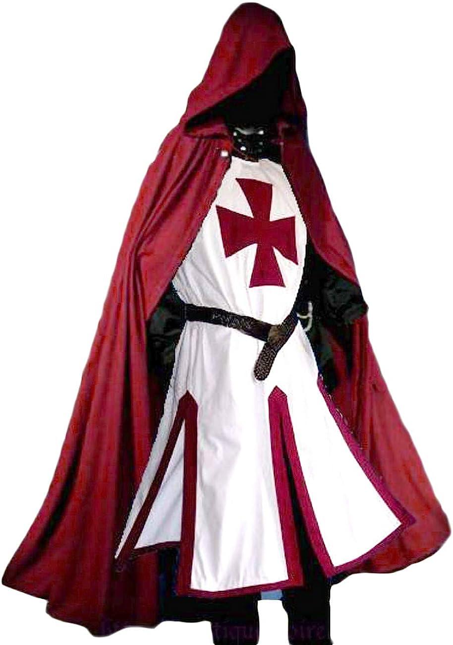 Runcati Disfraz de Pirata Medieval para Hombre, con Capucha, para Halloween, túnica templaria con Capucha, Capa de Capa