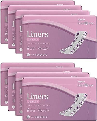 Amazon Basic Care Protège-slips ultra mini, 8 paquets de 28 (224 articles au total)