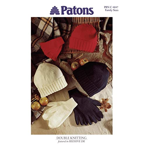 Patons Knitting Pattern 4847, Hat, Mitts & Gloves for Toddlers, Children & Adults