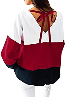 Yidarton Women's Casual Crew Neck Long Sleeve Shirt Color Block Sweatshirt Blouse Tops