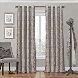ECLIPSE Nadya Print Thermal Insulated Single Panel Grommet Top Darkening Curtains for Living Room, 52' x 108', Linen