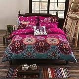 LAMEJOR Mandala Duvet Cover Set Queen Size Bohemia Exotic Pattern Luxury Soft Bedding Set Comforter Cover (1 Duvet Cover+2 Pillowcases) Fuchsia Pink/Turquoise Blue