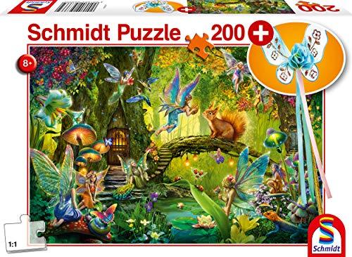 Schmidt Spiele Puzzle 56333 Feen im Wald, inklusive Feenstab, Kinderpuzzle, 200 Teile, bunt