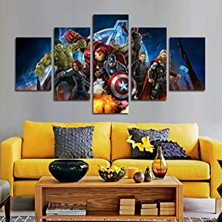 TYUIOP 5 pieces of Marvel Avengers Ultron superhero canvas painting suitable for living room home decoration canvas art wa...