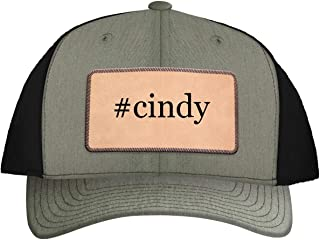 One Legging it Around #Cindy - Leather Hashtag Light Brown Patch Engraved Trucker Hat