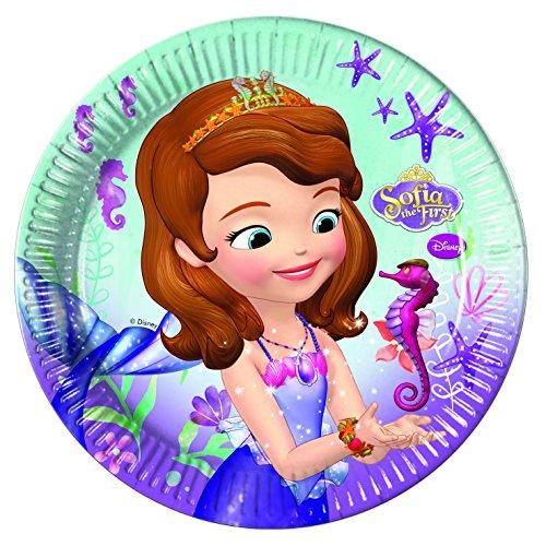 8 Assiettes en carton Princesse Sofia sirène 23 cm