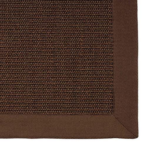 casa pura® Sisal Teppich aus Naturfasern | Dunkelbraun | mit Bordüre aus Baumwolle | pflegeleicht | Größe wählbar (70x130 cm)