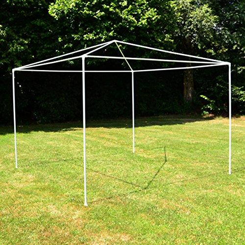 Garten-Pavillon 3 x 3 m, wasserdicht, inklusive Heringe, Abspannseile, Eckverbinder, Material PE-Plane 110 g/m², Metallgestänge lackiert, Stecksystem Montage ohne Werkzeug, weiß - 7