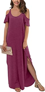Women's Summer Casual Loose Long Dress Strapless Strap...