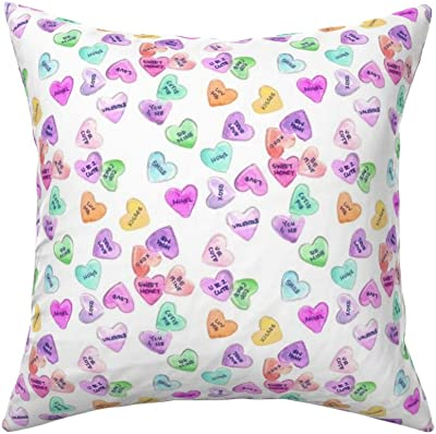 Roostery Throw Pillow Watercolor Valentines Painted Candy Hearts Pastel Be Mine Print Linen Cotton Canvas Knife Edge Accent Pillow 18in X 18in Optional Insert Home Kitchen
