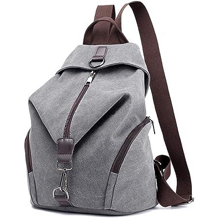 JOSEKO Frauen Leinwand Rucksack, Canvas Tasche Rucksäcke Damen Umhängentasche Große Kapazität Reisetasche Vintage Schultasche für Reise Outdoor Schule(Grau)