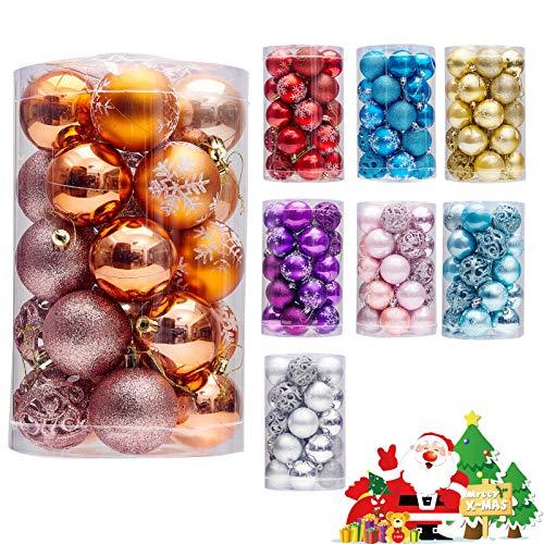 "LancerPac Luxury Christmas Balls Ornaments Shatterproof 5 Finish-Shiny,Matte,Glitter,Matte Paint and Hollow ,2.36"",60 mm Purple"