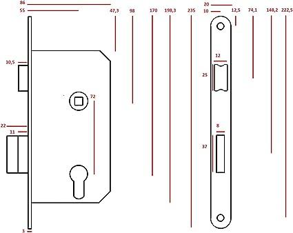 Serrure de porte encastrée pour bandes intérieur droite BB DIN Droite