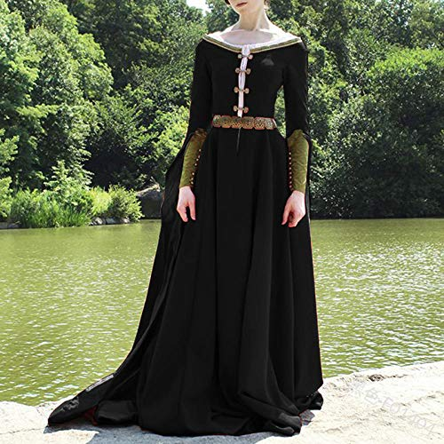 Vestido Medieval para Mujer, Adulto,Mujer Falda Vestido Medieval,Vestido Vintage Medieval, Vestido de Temperamento de Cintura Alta-Negro_4XL