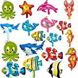 18 Pieces Foil Balloons Ocean Animals Balloons Fish Balloons Sea Animal Balloons for Kids Birthday Ocean Themed Party Decorations