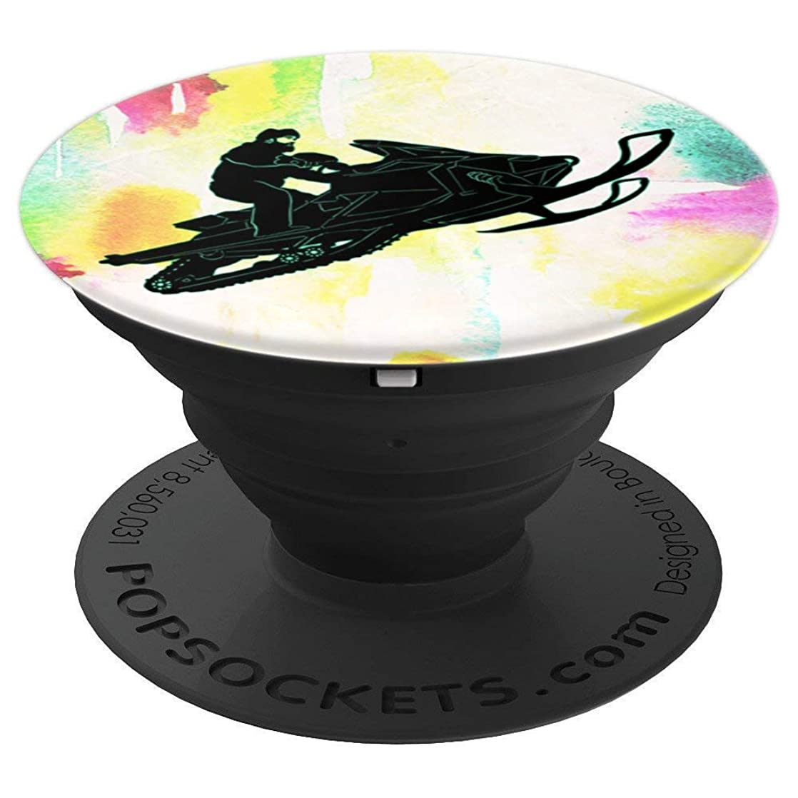 Snowmobile For Men Snow Sled Winter Travel Theme on Rainbow - PopSockets Grip and Stand for Phones and Tablets wohkvzgz37014