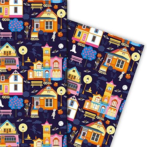 Cool Halloween cadeaupapierset (4 vellen), decoratiepapier, papier om in te pakken met geesten, pompoenen en huizen, blauw, voor leuke geschenkverpakking en verrassingen 32 x 48 cm