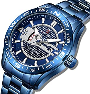 Naviforce Men's Blue Dial Stainless Steel Analogue Classic Watch - NF9157-BEBE