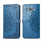 Bear Village Hülle für Galaxy J5 2016, PU Lederhülle Handyhülle für Samsung Galaxy J5 2016, Brieftasche Kratzfestes Magnet Handytasche mit Kartenfach, Blau