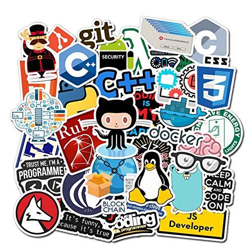 ZZHH 50 Uds Internet Nuevo Paquete de Pegatinas de programación Frikiportátil refrigerador teléfono monopatín Maleta de Viaje DIY