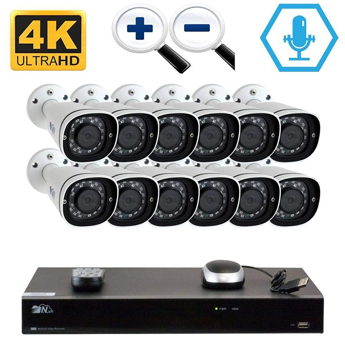 GW 16CH H.265 PoE NVR Ultra-HD 4K (3840x2160) Video & Audio Security Camera System with 12 x 4K (8MP) Microphone 3X Motorized Zoom IP Bullet Camera, 100ft Night Vision, 8TB HDD