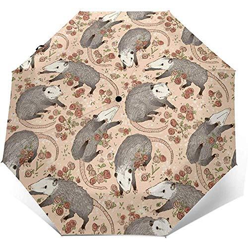 Cy-ril-Automatic tri-fold umbrella Automatischer dreifachgefalteter Regenschirm Opossum and Roses Printing Winddicht Kompakt Automatischer Dreifachgefalteter Regenschirm Sonnenschutz UV Travel
