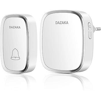DAZAKA Campanello Senza Fili, Campanello Wireless Impermeabile da Esterno Portata, 300M, 36 Melodie, 4 Volume, Indicatore LED (1 Ricevitor)
