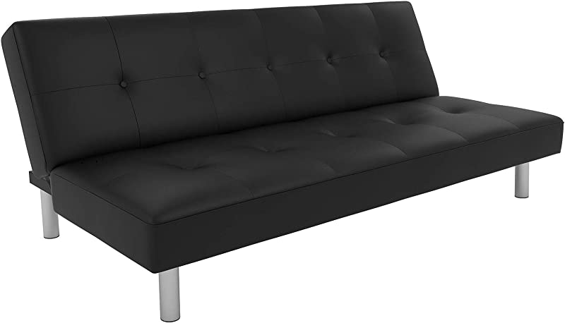 DHP Nola Futon Couch With Tufted Faux Leather Upholstery Modern Style Black Faux Leather