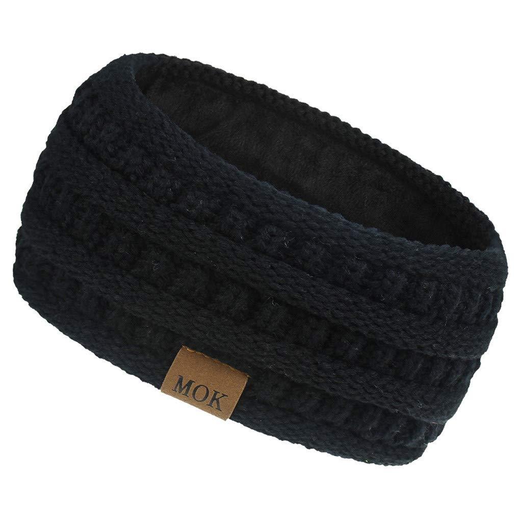SPORTTIN Knitted Hairband Crochet Turban Headband for Women Girls Cable Ear Warmer Twisted Fuzzy Lined Headwrap(A-Black)