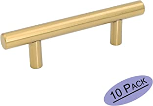 Goldenwarm 3in Hole Centers Brushed Brass Cabinet Drawer T Bar Kitchen Pull Cupboard Door Handle Gold Wardrobe Hardware Knob,5in Overall Length 10Packs