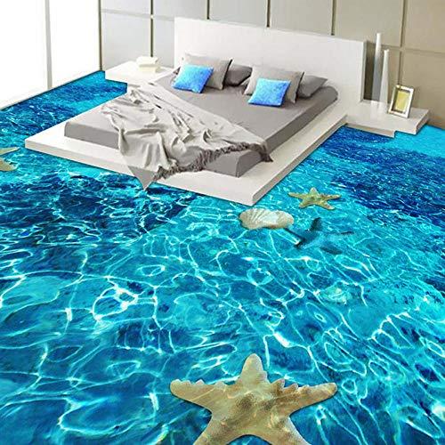 Papel tapiz para suelo de estrella de mar estéreo 3D, dormitorio, baño, PVC, autoadhesivo, resistente al agua, mural de baldosas 3D, -400 * 280cm