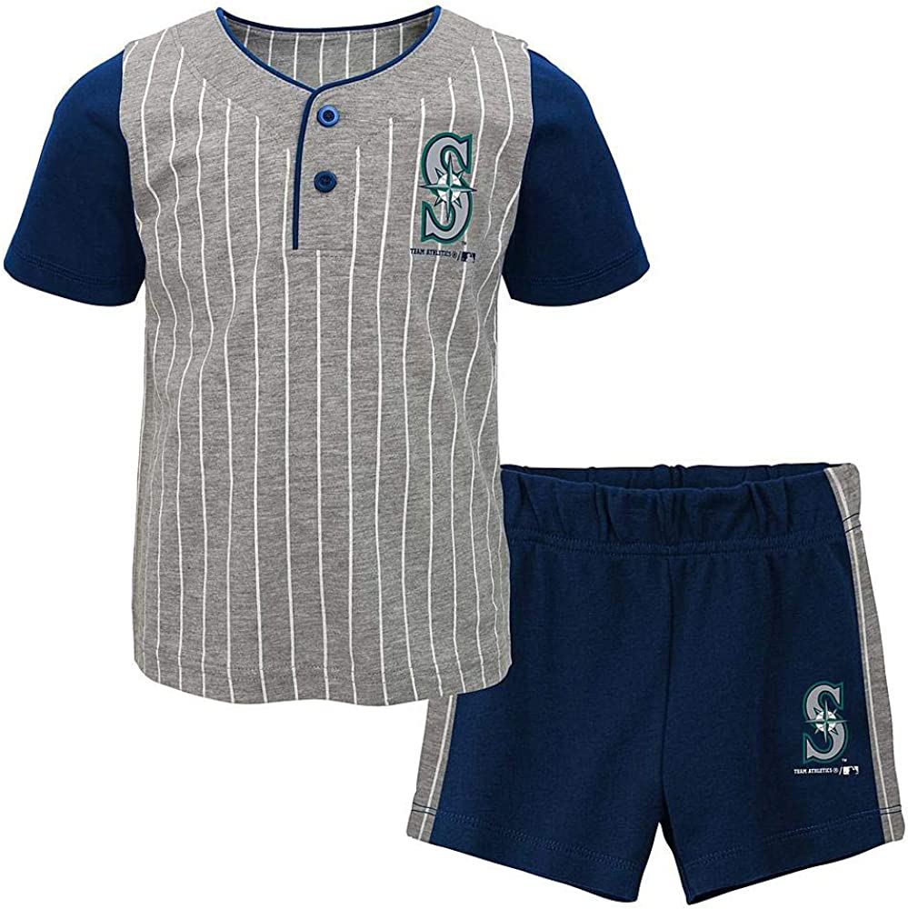 OuterStuff MLB Toddler Batter Up Short Sleeve Henley Shirt /& Shorts Set