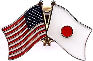 Box of 12 Japan & US Crossed Flag Lapel Pins, Japanese & American Double Friendship Pin Badge