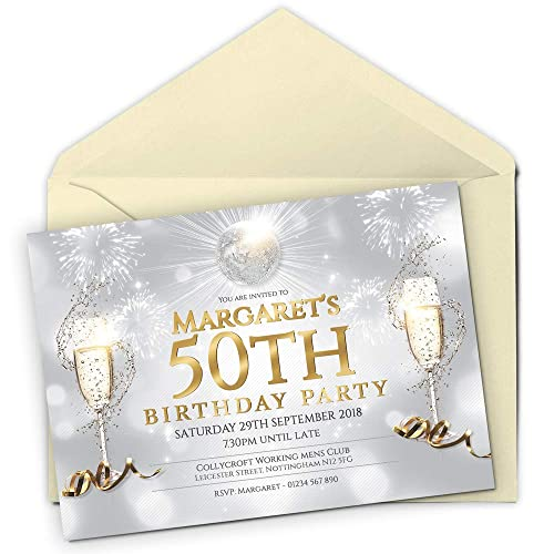 50 Personalised Birthday Invitations Party Invites Choose From 39 Stunning Designs O 18th 21st 30th
