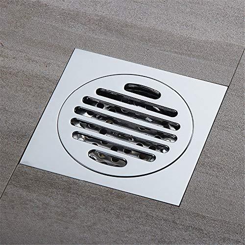 PIJN Bodenablauf Verchromte Deodorant und Insect-Proof WC Bodenablauf Messing (Color : Metallic, Size : 100x100x40mm)