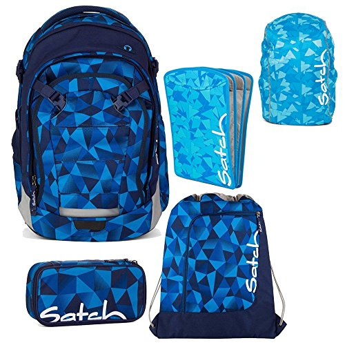 Satch MATCH by Ergobag Blue Crush 5-tlg. Set Schulrucksack + Sportbeutel + Schlamperbox inkl. Geodreieck + Heftebox Tripleflex Blau + Regenhaube Blau