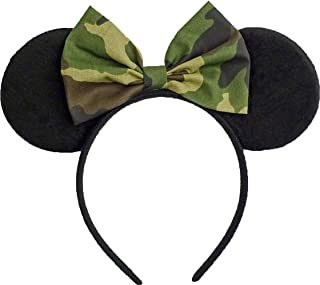 Minnie Mouse Ears Inspired Camo Camouflage Hair Bow Headband Women Mickey Birthday Party Theme Outfit by Sweet in the City