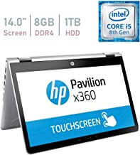 HP Pavilion 14-inch x360 HD Touchscreen Convertible 2 in 1 Laptop / Tablet PC, Intel Core i5-8250u up to 3.4GHz, 8GB DDR4 Memory, 1TB Hard Drive, USB 3.1 Type-C, B&O Play, Windows 10