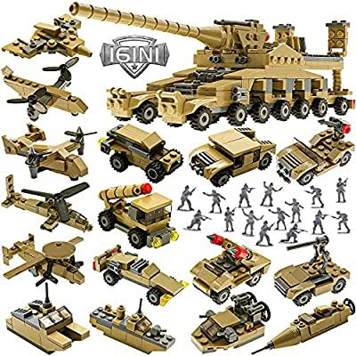 STEM Building Toys Set, Creative Army Toys for 6 7 8 9 10 Year Old Boy Kids Gifts, with 544 PCS Military Vehicles Model Blocks Toy and 20 Little Toy Soldiers, 16 in 1 Building Bricks Army Tank by KAZI